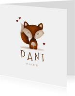Geboortekaartje vos met hartjes lief