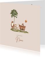 Geboortekaartje vos met vosje in bakfiets bij een boom