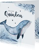 Geboortekaartje walvis blauw water hartjes waterverf