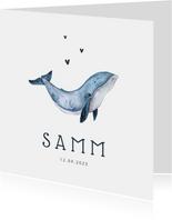 Geboortekaartje walvis hip illustratie eenvoudig