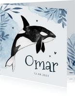 Geboortekaartje walvis orka water zee waterverf