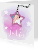 Geboortekaartje watercolor met sterren