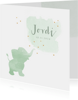 Geboortekaartje watercolor olifant groen