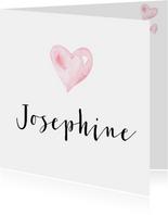 Geboortekaartje waterverf hartje Josephine