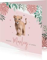 Geboortekaartje waterverf leeuwtje jungle botanisch meisje