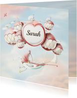 Geboortekaartje wiegje aan ballonnen vintage kleuren meisje