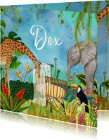 Geboortekaartje wiegje in de jungle tussen de dieren
