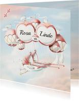 Geboortekaartje wiegjes aan ballonnen tweeling meisjes