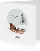 Geboortekaartje winter beren in een bootje