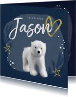 Geboortekaartje winter ijsbeer jongen goud hartje