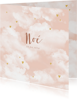 Geboortekaartje wolken hartjes goudlook meisje