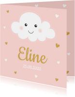 Geboortekaartje wolkje roze hartjes