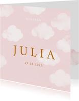 Geboortekaartje wolkjes waterverf roze meisje