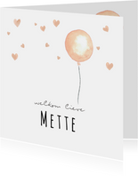 Geboortekaartje zalmroze waterverf ballon en hartjes