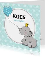 Geboortekaartje zoon met olifantje en kroon