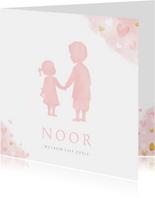 Geboortekaartje zusje en broer - waterverf met roze hartjes