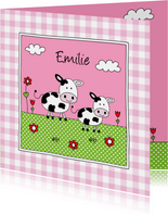 Geboortekaartje zusje koeien weiland