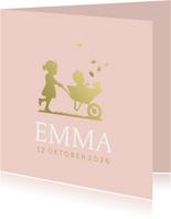 Geboortekaartje zusje met kruiwagen meisje goudlook