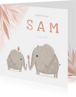 Geboortekaartje zusje met olifantjes en vogels
