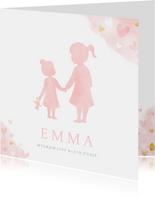 Geboortekaartje zusje - waterverf met roze en gouden hartjes