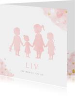 Geboortekaartje zusjes en broertje waterverf roze hartjes