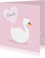 Geboortekaartje zwaantje roze hartjes