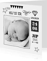 Geboortekaartje zwart wit Jip