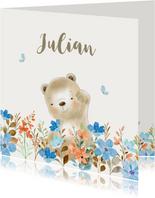 Geboortekaartjes - Beertje met bloemen jongen