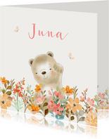 Geboortekaartjes - Beertje met bloemen meisje