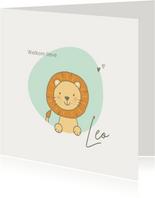 Geboortekaartjes - Leeuw met mint vlek en hartjes