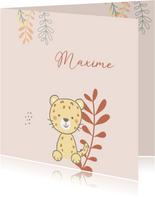 Geboortekaartjes - Luipaard met bladeren