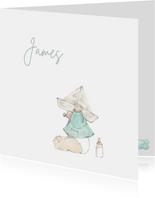 Geboortekaartjes - Pentekening baby met papieren hoedje