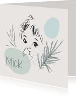 Geboortekaartjes - Pentekening met vlakken jongen