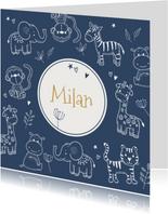 Geboortekaartjes - Safari dieren in donkerblauw silhouet