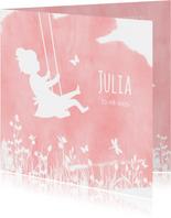 Geboortekaartjes silhouet meisje op schommel met vlinders