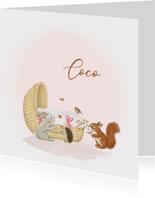 Geboortekaartjes wiegje meisje met bosdieren
