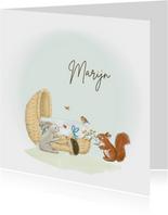 Geboortekaartjes - Wiegje met bosdieren jongen
