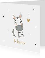 Geboortekaartjes - Zebra met hartje