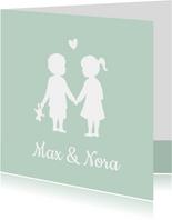Geboortkaartje tweeling silhouet jongen meisje hand in hand
