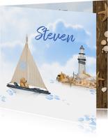 Geboren beer en zeilboot op zee