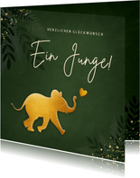 Geburt Glückwunschkarte Elefant olivgrün