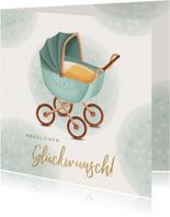 Geburt Glückwunschkarte Kinderwagen grün