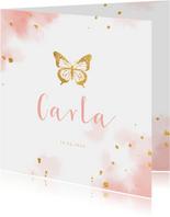 Geburtskarte Aquarell Schmetterling Foto innen