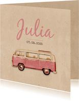 Geburtskarte Bulli Kraftpapier rosa Foto innen