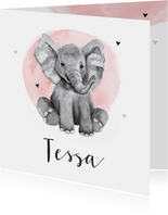Geburtskarte Elefant Aquarell rosa Foto innen