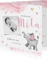 Geburtskarte Elefant Wasserfarbe & Foto