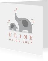 Geburtskarte Elefanten Foto rosa innen
