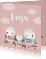 Geburtskarte Eulenfamilie rosa