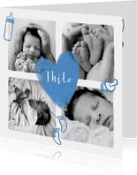 Geburtskarte Fotocollage Herz und Icons