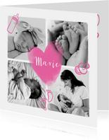 Geburtskarte Fotocollage rosa Herz und Icons